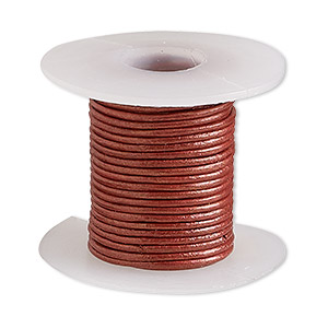 cord, leather (coated), metallic brick red, 0.5-0.8mm round. sold per 5-yard spool.