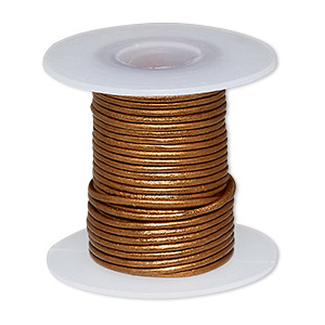 cord, leather (coated), metallic copper, 0.5-0.8mm round. sold per 5-yard spool.