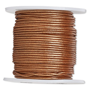 cord, leather (coated), metallic copper, 1-1.2mm. sold per 25-yard spool.