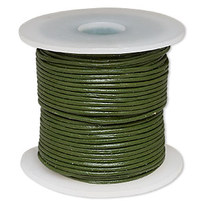 cord, leather (dyed), avocado, 1-1.2mm round. sold per 25-yard spool.