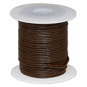 cord, leather (dyed), brown, 0.5-0.8mm round. sold per 25-yard spool.