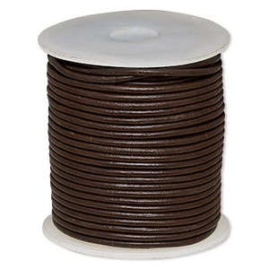 cord, leather (dyed), brown, 2mm round. sold per 25-yard spool.