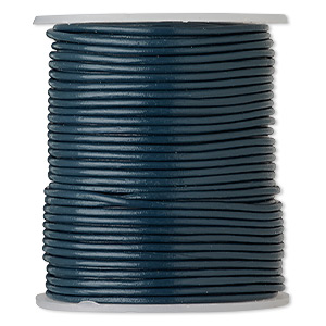 cord, leather (dyed), dark blue, 1-1.2mm round. sold per 25-yard spool.