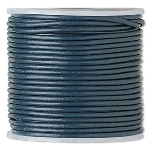 cord, leather (dyed), dark blue, 1.4-1.6mm round. sold per 25-yard spool.