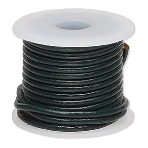 cord, leather (dyed), dark green, 2mm round. sold per 5-yard spool.