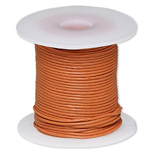 cord, leather (dyed), marigold, 1-1.2mm round. sold per 25-yard spool.