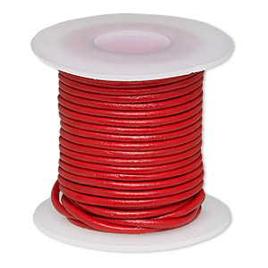 cord, leather (dyed), red, 1-1.2mm round. sold per 5-yard spool.