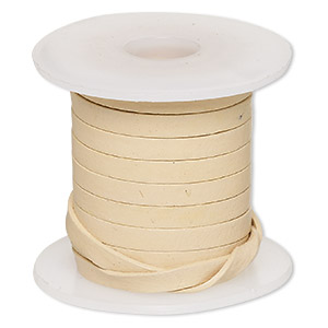 cord, leather, tan, 4mm flat. sold per 5-yard spool.