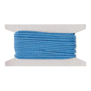 cord, nylon, blue, 3mm round. sold per 25-foot card.