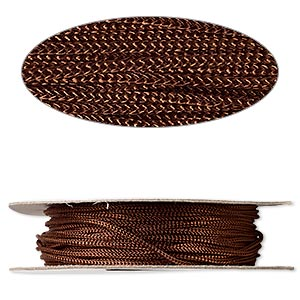 cord, nylon, brown, 2mm round. sold per 100-foot spool.