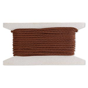 cord, nylon, brown, 3mm round. sold per 25-foot card.