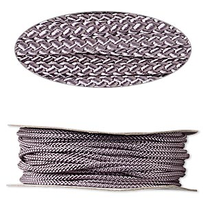 cord, nylon, grey, 3mm round. sold per 100-foot spool.