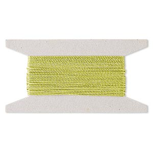 cord, nylon, lime green, 1mm twisted. sold per 25-foot card.