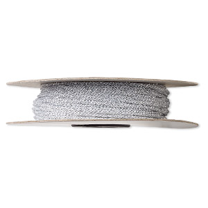 cord, nylon, metallic silver, 1.5mm round. sold per 100-foot spool.