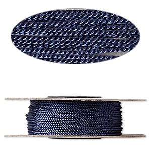 cord, nylon, navy blue, 1mm twisted. sold per 100-foot spool.
