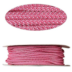 cord, nylon, pink, 3mm round. sold per 100-foot spool.