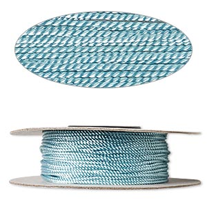 cord, nylon, turquoise blue, 1mm twisted. sold per 100-foot spool.