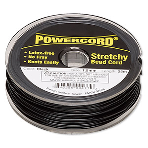 cord, powercord, elastic, black, 1.5mm, 22-pound test. sold per 25-meter spool.