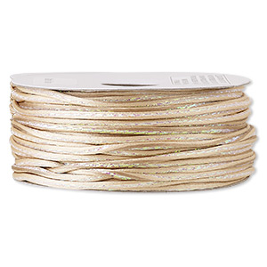 cord, satinique™, nylon and polyester, beige / green / pink, 2mm regular with vertical stripe. sold per 100-foot spool.