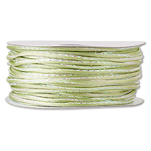 cord, satinique™, nylon and polyester, lime green / green / pink, 2mm regular with vertical stripe. sold per 100-foot spool.