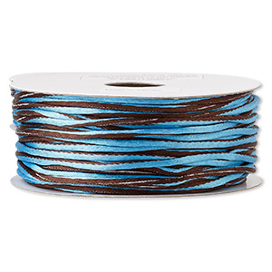 cord, satinique™, nylon, brown and blue, 2mm regular with vertical stripe. sold per 100-foot spool.