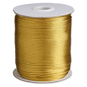 cord, satinique™, satin, antiqued gold, 1.5mm small. sold per 400-foot spool.