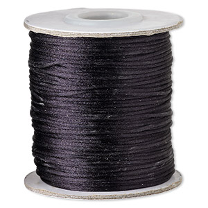 cord, satinique™, satin, black, 1mm mini. sold per 200-foot spool.