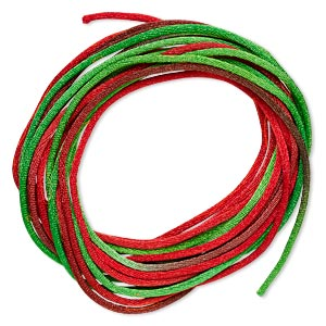 cord, satinique™, satin, christmas, 1.5mm small. sold per pkg of 10 feet.