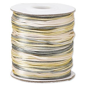 cord, satinique™, satin, coastal fog, 1mm mini. sold per 200-foot spool.