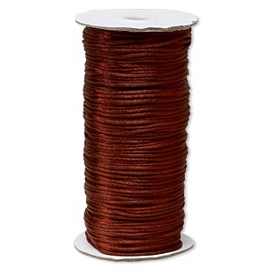 cord, satinique™, satin, copper, 2mm regular. sold per 400-foot spool.