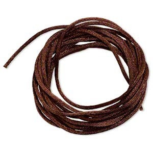 cord, satinique™, satin, dark brown, 2mm regular. sold per pkg of 10 feet.
