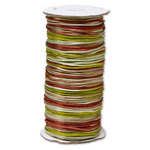 cord, satinique™, satin, forest, 2mm regular. sold per 400-foot spool.