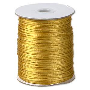 cord, satinique™, satin, gold, 1.5mm small. sold per 400-foot spool.