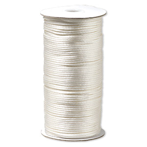 cord, satinique™, satin, ivory, 2mm regular. sold per 400-foot spool.