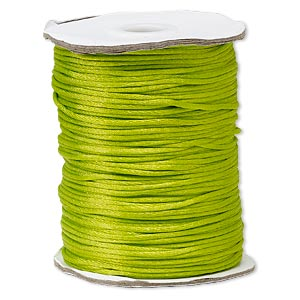 cord, satinique™, satin, lime green, 1.5mm small. sold per 400-foot spool.