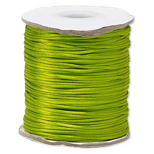 cord, satinique™, satin, lime green, 1mm mini. sold per 200-foot spool.