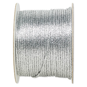 cord, satinique™, satin, metallic silver, 2mm. sold per 432-foot spool.