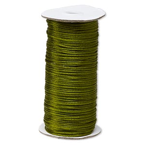 cord, satinique™, satin, olive green, 2mm regular. sold per 400-foot spool.