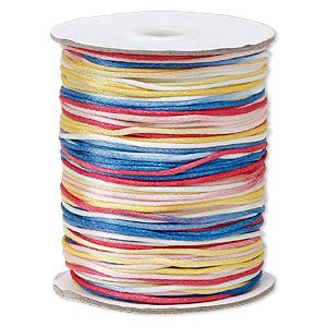 cord, satinique™, satin, rainbow, 1.5mm small. sold per 400-foot spool.