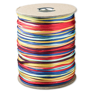 cord, satinique™, satin, rainbow, 2mm regular. sold per 400-foot spool.