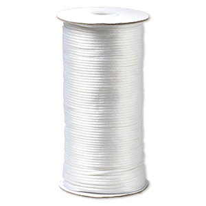 cord, satinique™, satin, white, 2mm regular. sold per 400-foot spool.