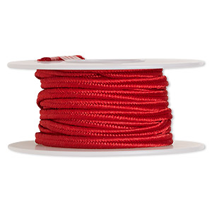 cord, soutache, polyester, scarlet red, 3.5mm wide. sold per 6-yard spool.