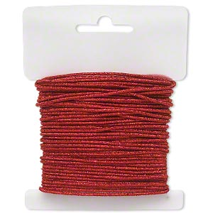 cord, stretch, polyester and elastic, red with glitter, 1.5mm diameter. sold per 10-yard card.