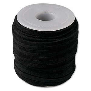 cord, suede lace (dyed), black, 3-4mm. sold per 25-yard spool.
