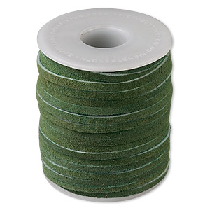 cord, suede lace (dyed), hunter green, 3-4mm. sold per 25-yard spool.