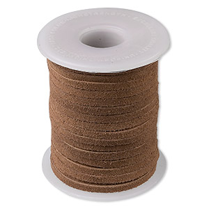 cord, suede lace (dyed), medium brown, 3-4mm. sold per 25-yard spool.