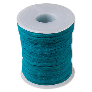 cord, suede lace (dyed), turquoise blue, 3-4mm. sold per 25-yard spool.