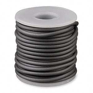 cord, synthetic rubber, pewter, 3mm round. sold per pkg of 10 meters (32.8 feet).