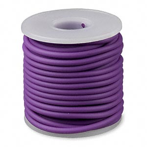 cord, synthetic rubber, purple, 3mm round. sold per pkg of 10 meters (32.8 feet).