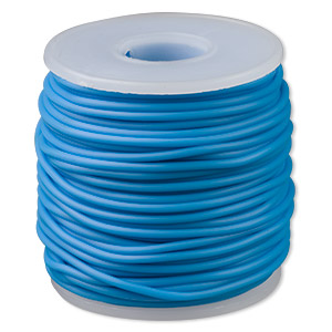 cord, synthetic rubber, turquoise blue, 2mm round. sold per pkg of 25 meters (82 feet).